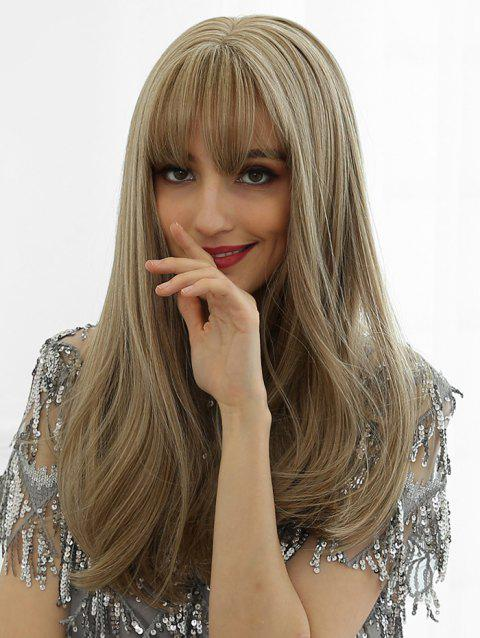 Synthetic Long See-through Bang Straight Wig - GOLD