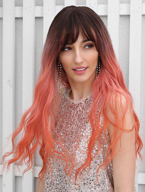 Synthetic Ombre Long See-through Bang Wavy Wig - multicolor