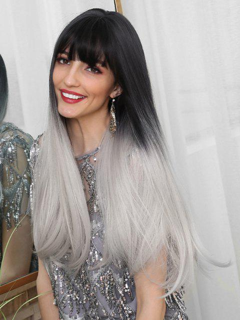 Synthetic Long See-through Bang Straight Ombre Wig - multicolor