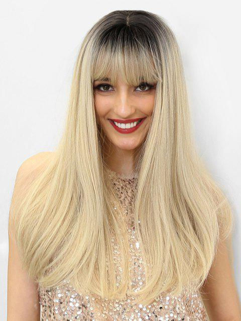 Ombre Synthetic Long See-through Bang Straight Wig - multicolor