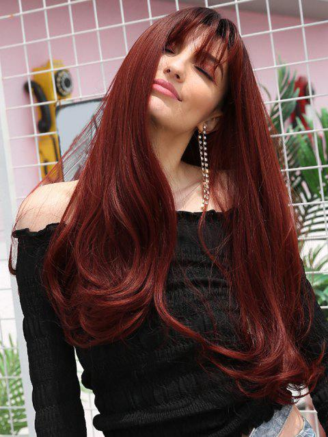 Synthetic See-through Bang Body Wave Long Wig - multicolor