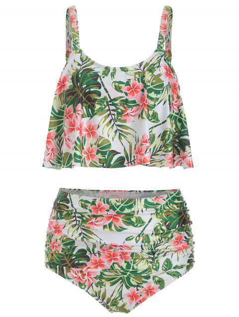 Floral Print Ruched Overlay Tankini Swimsuit - GREEN 2XL