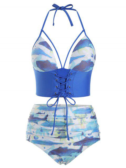 Fish Print High Waisted Lace-up Tankini Swimsuit - OCEAN BLUE 2XL