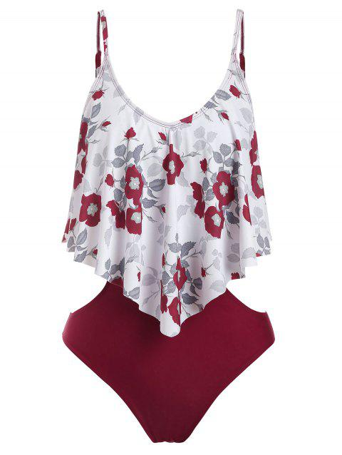 Flower Print Cut Out Flounce One-Piece Swimsuit - RED WINE 3XL