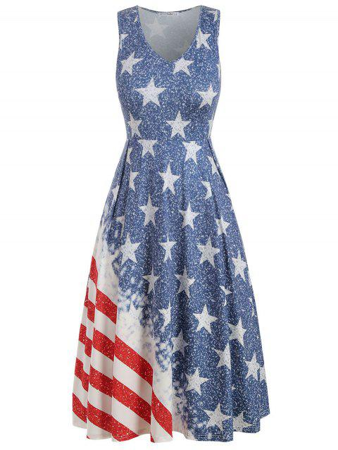 41% OFF] 2019 V Neck American Flag Plus Size A Line Dress In WHITE ...