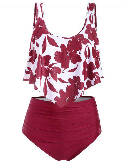 Floral Flounce Ruched Tankini Swimsuit - RED L