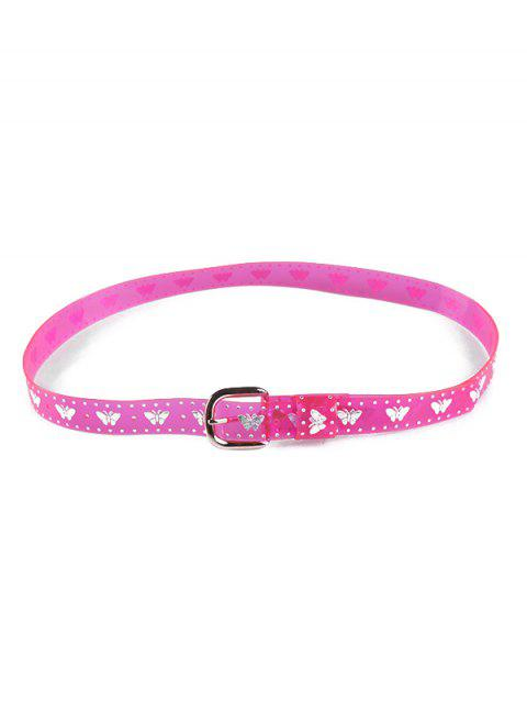 Transparent Butterfly Neon PVC Belt - ROSE RED