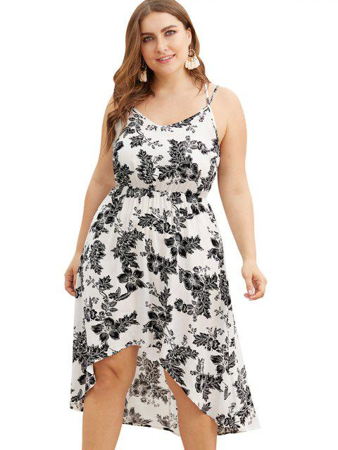 17% OFF] 2019 Plus Size High Low Floral Print Midi Dress In WHITE ...