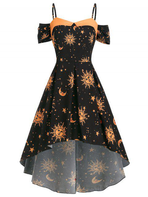 Star Sun And Moon High Low Open Shoulder Plus Size Dress - BLACK 2X