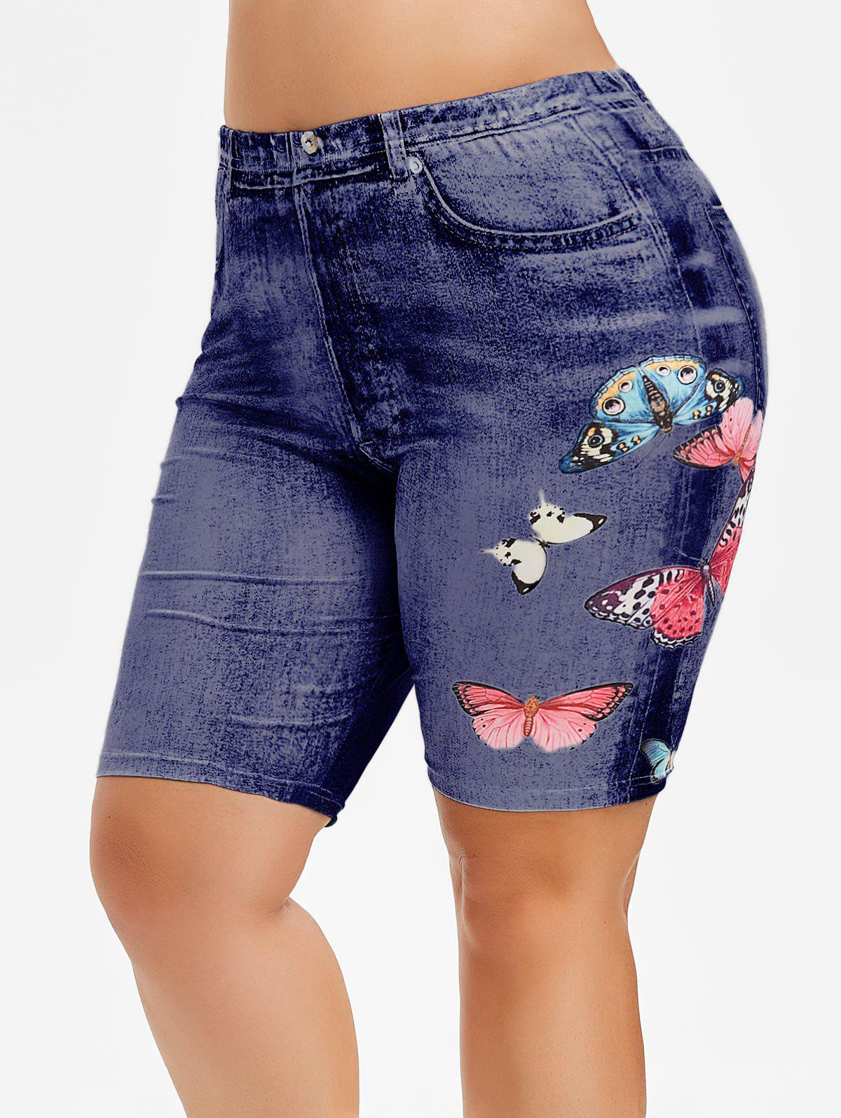 3D Butterfly Jean Print Plus Size Shorts
