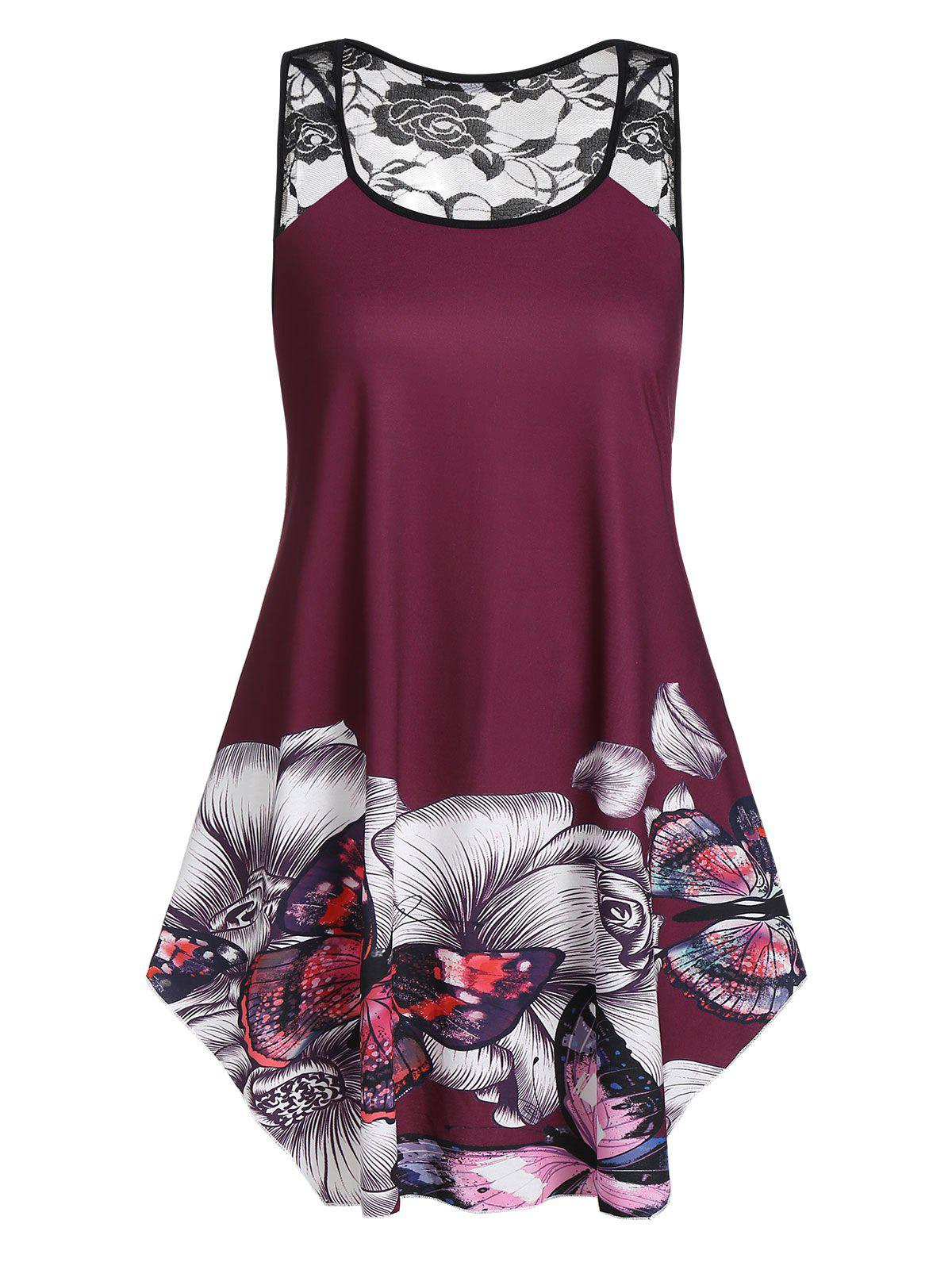 Plus Size Floral Butterfly Print Flare Tank Top - RED WINE 1X