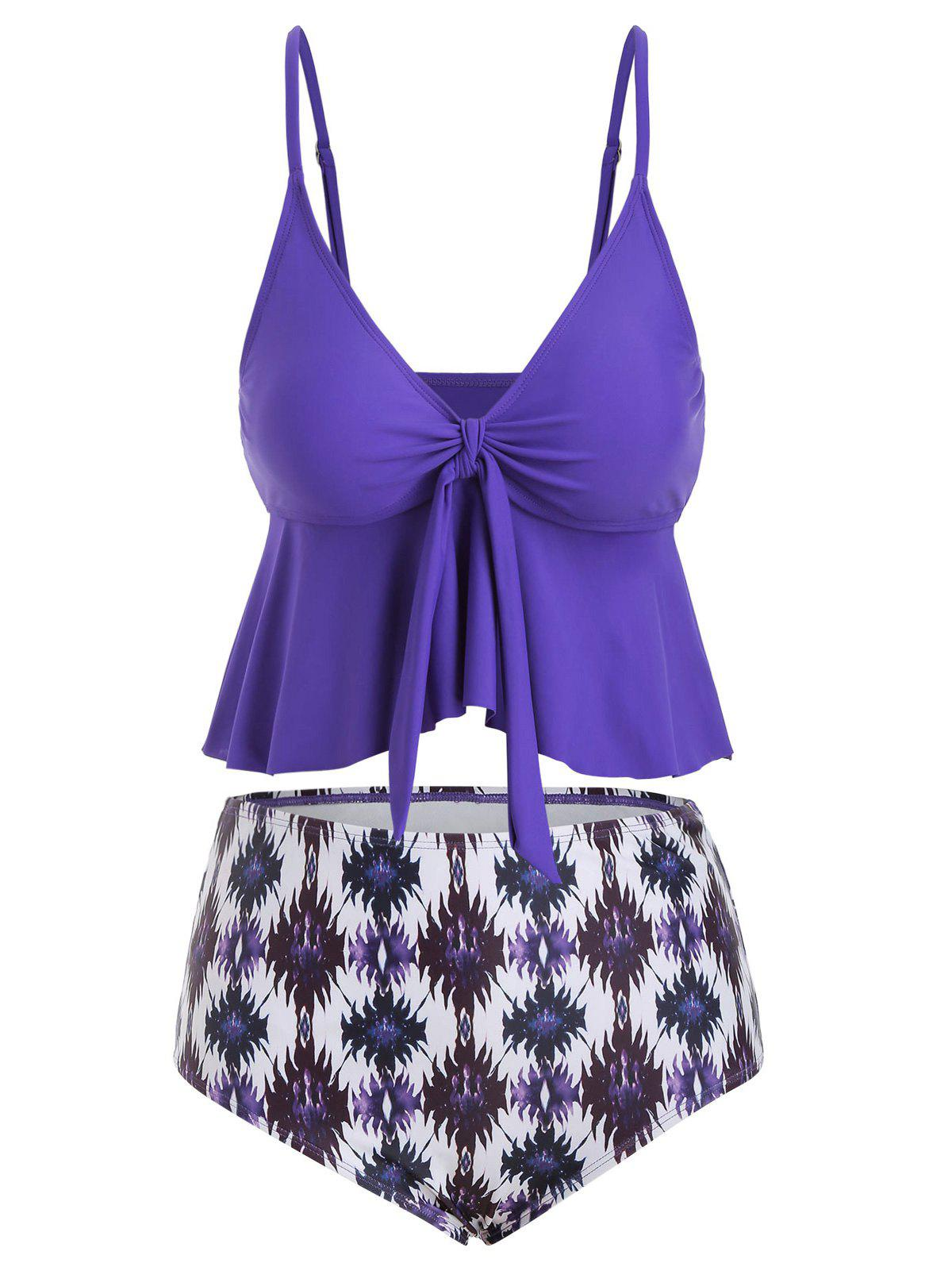 Knot Flounce Printed Plus Size High Waisted Bikini Swimsuit - PURPLE AMETHYST 4X