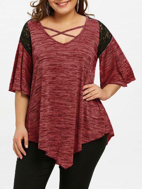 Flare Sleeve Plus Size Asymmetrical Tunic T-shirt - CHERRY RED 4XL
