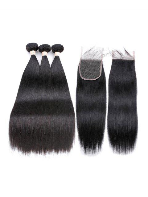 3Pcs Straight Human Hair Weft with 1Pc Free Part Hair Piece - NATURAL BLACK 22英寸 X 24英寸 X 26英寸 X 配件20英寸