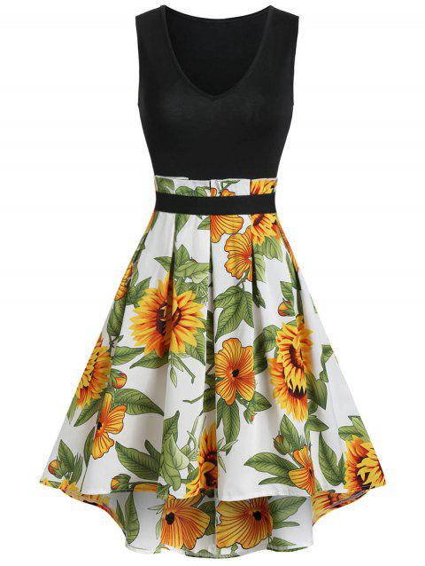 Floral Print High Low Pleated Dress - BLACK 2XL