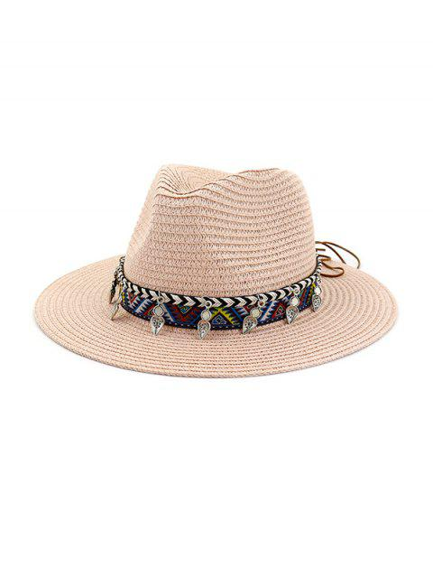 Beach Style Outdoors Strap Decorated Straw Hat - LIGHT PINK