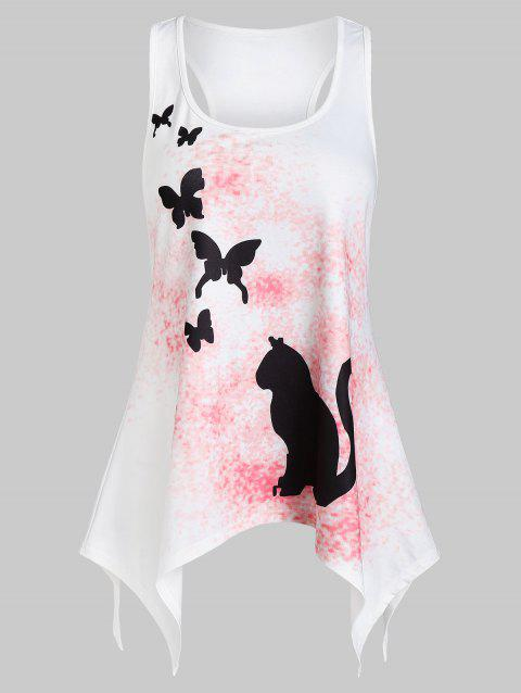 Asymmetrical Racerback Butterfly Print Tank Top - WHITE XL