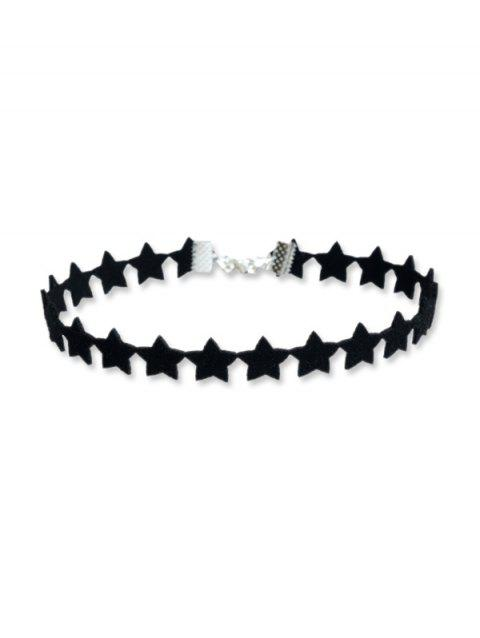 Star Design Choker Necklace - BLACK