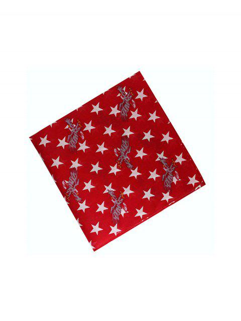 Star Eagle Print Square Scarf - RED