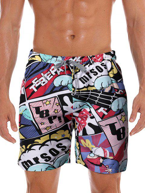 Graphic Printed Leisure Board Shorts - multicolor D S