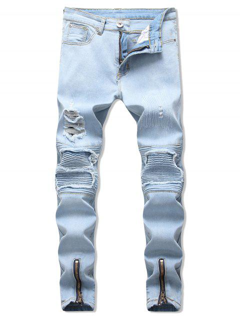 Zipper Ripped Decoration Casual Jeans - LIGHT BLUE 34