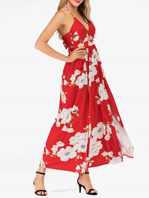 Halter Twist Floral High Slit Maxi Dress - RED XL