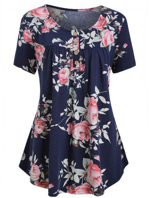 Half Buttoned Floral Short Sleeve Plus Size Top - BLUE 2X
