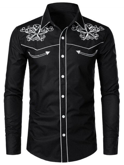 Embroidery Decoration Long Sleeves Shirt - BLACK 2XL