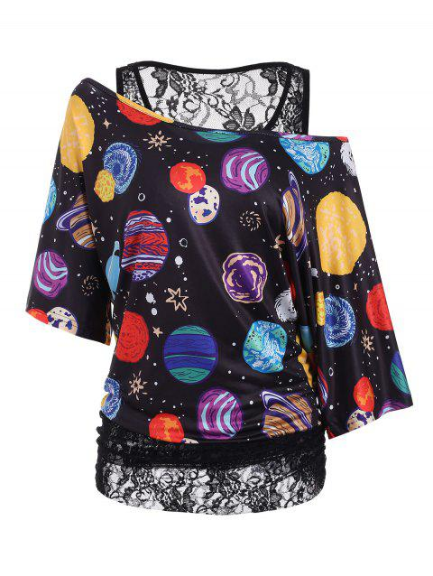 Planet Print Lace Lined Batwing Sleeve Plus Size Top - BLACK 3X