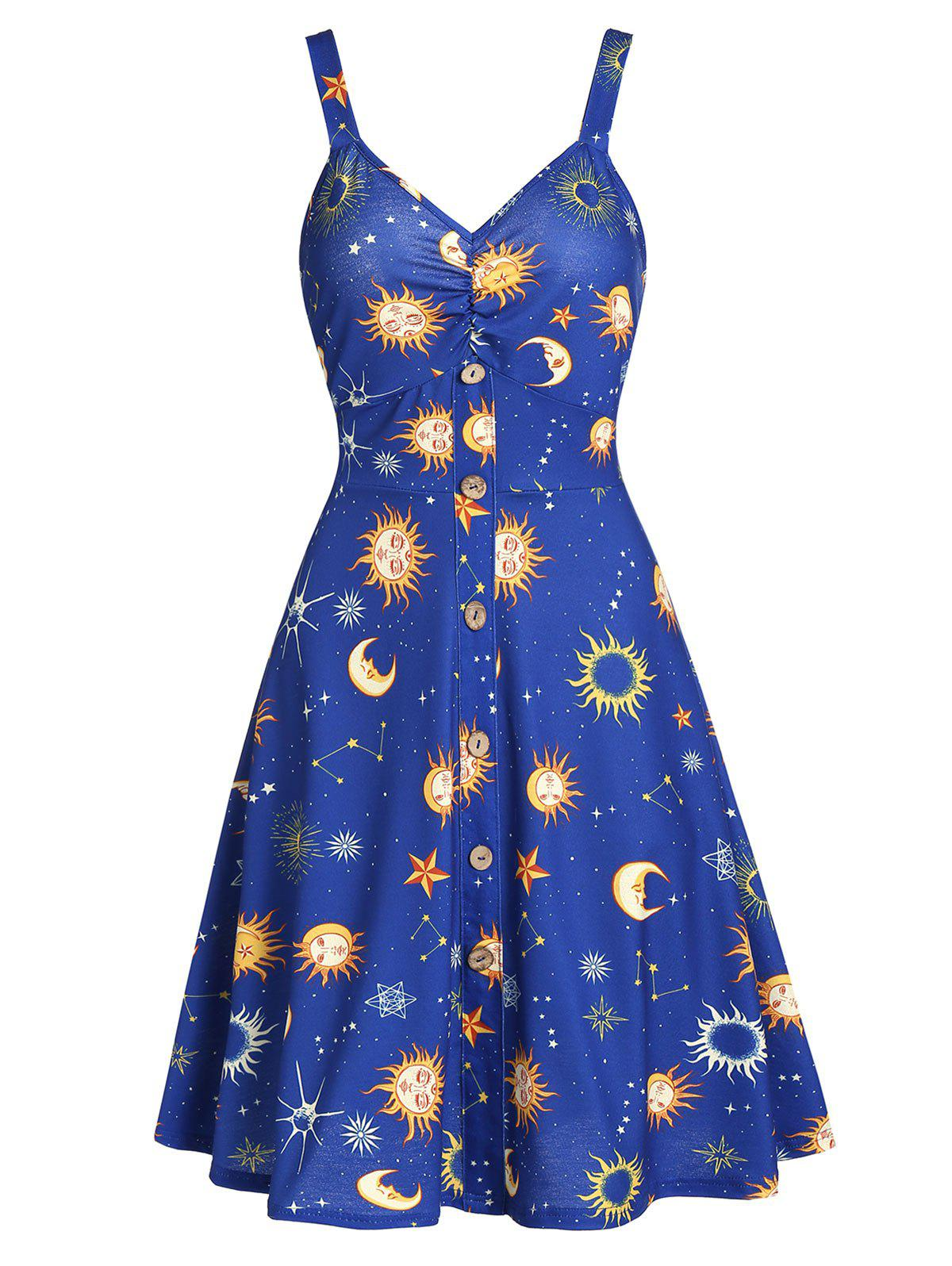 Plunge Backless Moon and Star Casual Dress - COBALT BLUE L