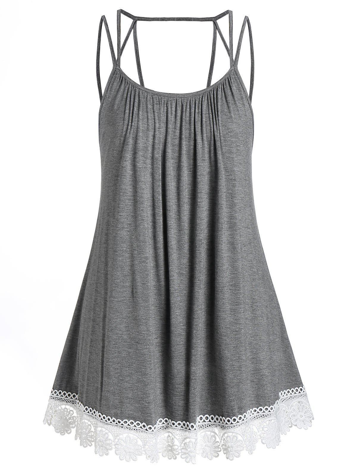 Plus Size Flare Cami Lace Panel Tank Top - CLOUDY GRAY L