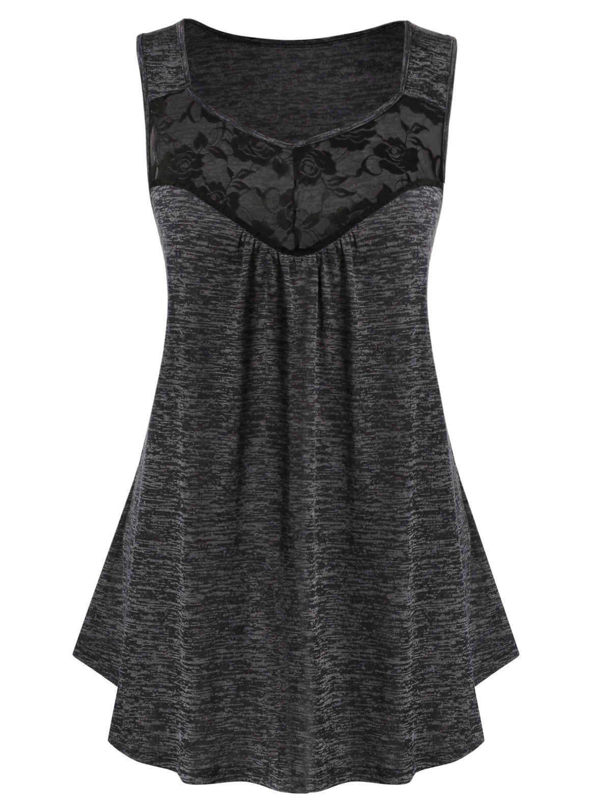 Plus Size Lace Insert Sweetheart Collar Marled Tank Top - DARK SLATE GREY 3X