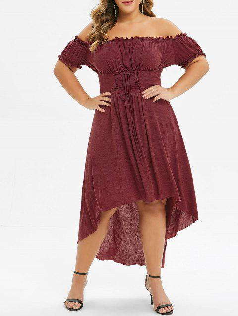 Plus Size Off The Shoulder Lace Up High Low Dress - RED WINE 2X