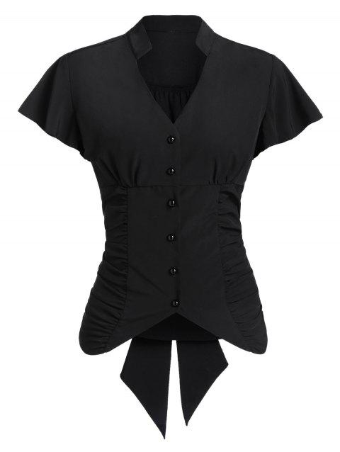Tie Back Button Up Ruched Shirt - BLACK M
