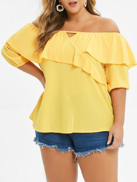 Plus Size Off The Shoulder Ruffled Blouse - BRIGHT YELLOW 2X