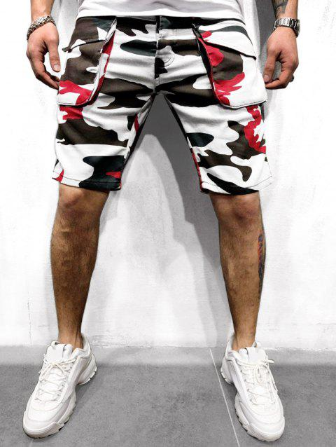 Camouflage Print Button Fly Cargo Shorts - WHITE L
