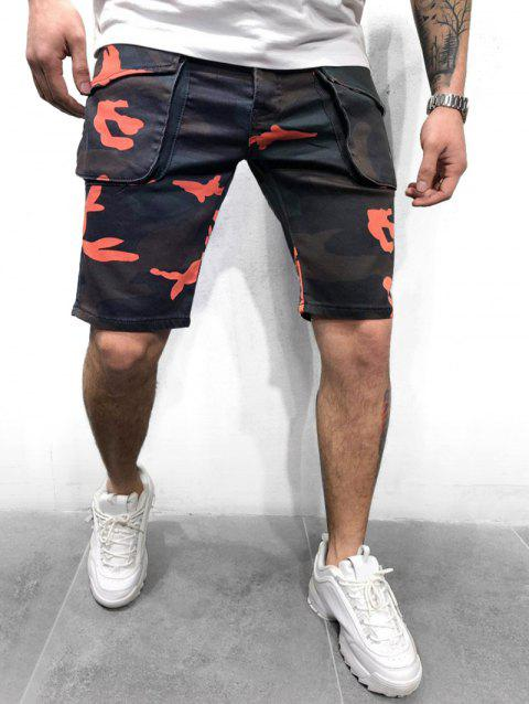 Camouflage Print Button Fly Cargo Shorts - GRAY 3XL