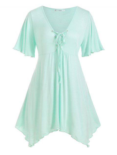 Lace Up Handkerchief Skirted Plus Size Top - GREEN 1X