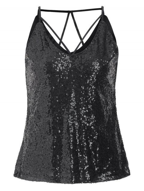 Party Strappy Sequined Cami Top - BLACK 2XL