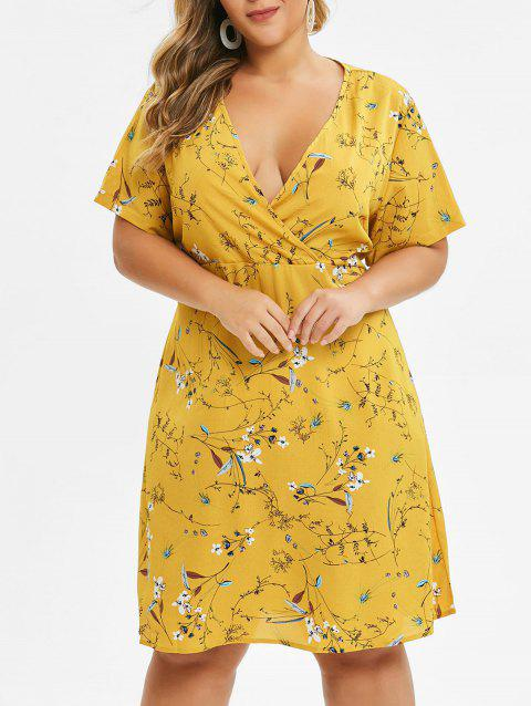 Plus Size Plunge Floral Print Surplice Dress - BEE YELLOW 1X