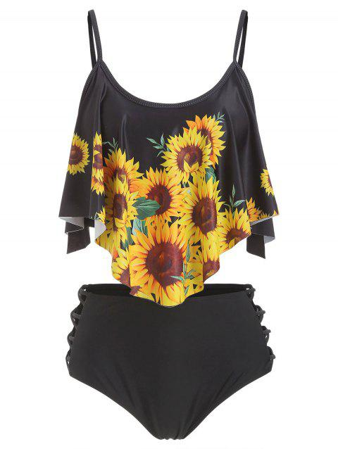 Flounce Lattice Sunflower Tankini Swimsuit - BLACK 3XL