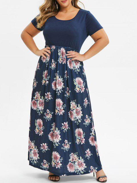 Contrast Floral Maxi Plus Size Dress - BLUE 2X