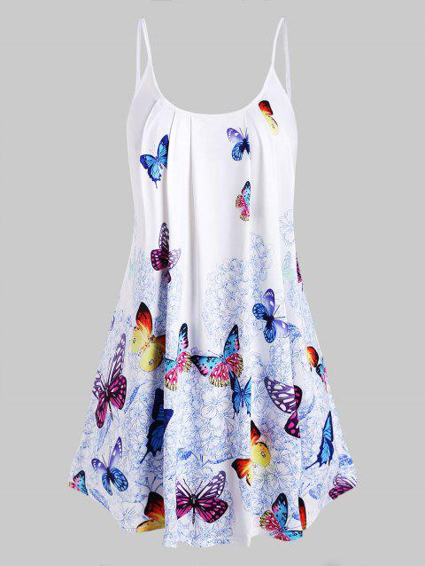 Plus Size Butterfly Print Cami Top - WHITE 4X