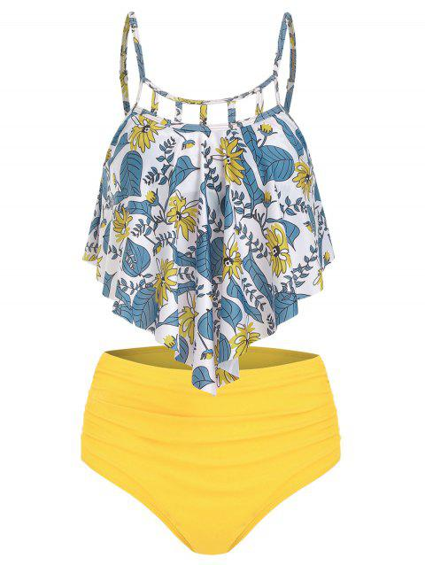 Floral Print Cut Out Ruched Tankini Set - YELLOW 2XL