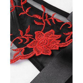 Bowknot Embroidered Crotchless Mesh Briefs