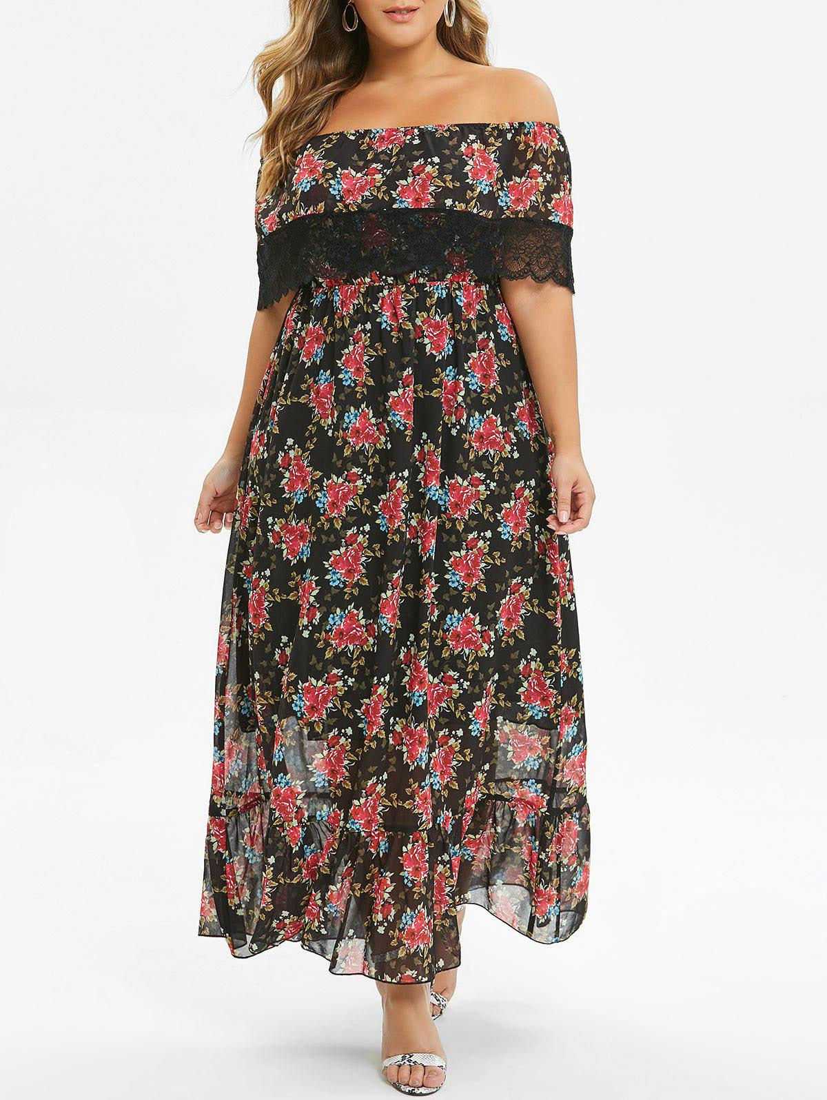 Plus Size Floral Print Ruffled Off The Shoulder Maxi Dress - BLACK 5X