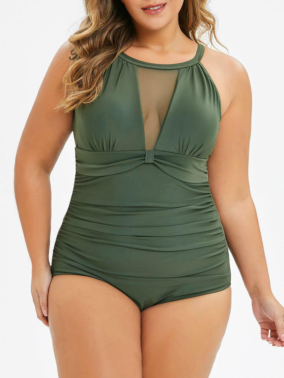 Plus Size Mesh Insert Cut Out One-piece Swimsuit - ARMY GREEN 4X