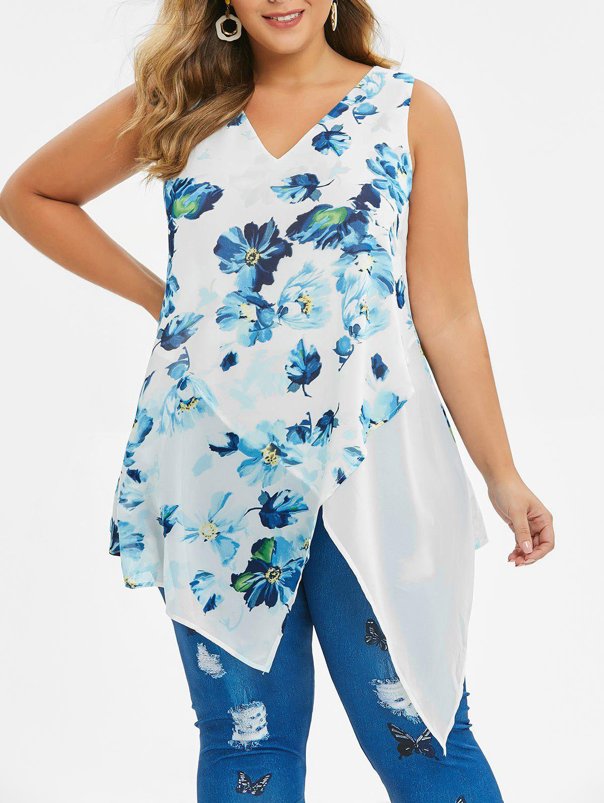 Plus Size Ditsy Print Asymmetric Tunic Blouse - WHITE 2X