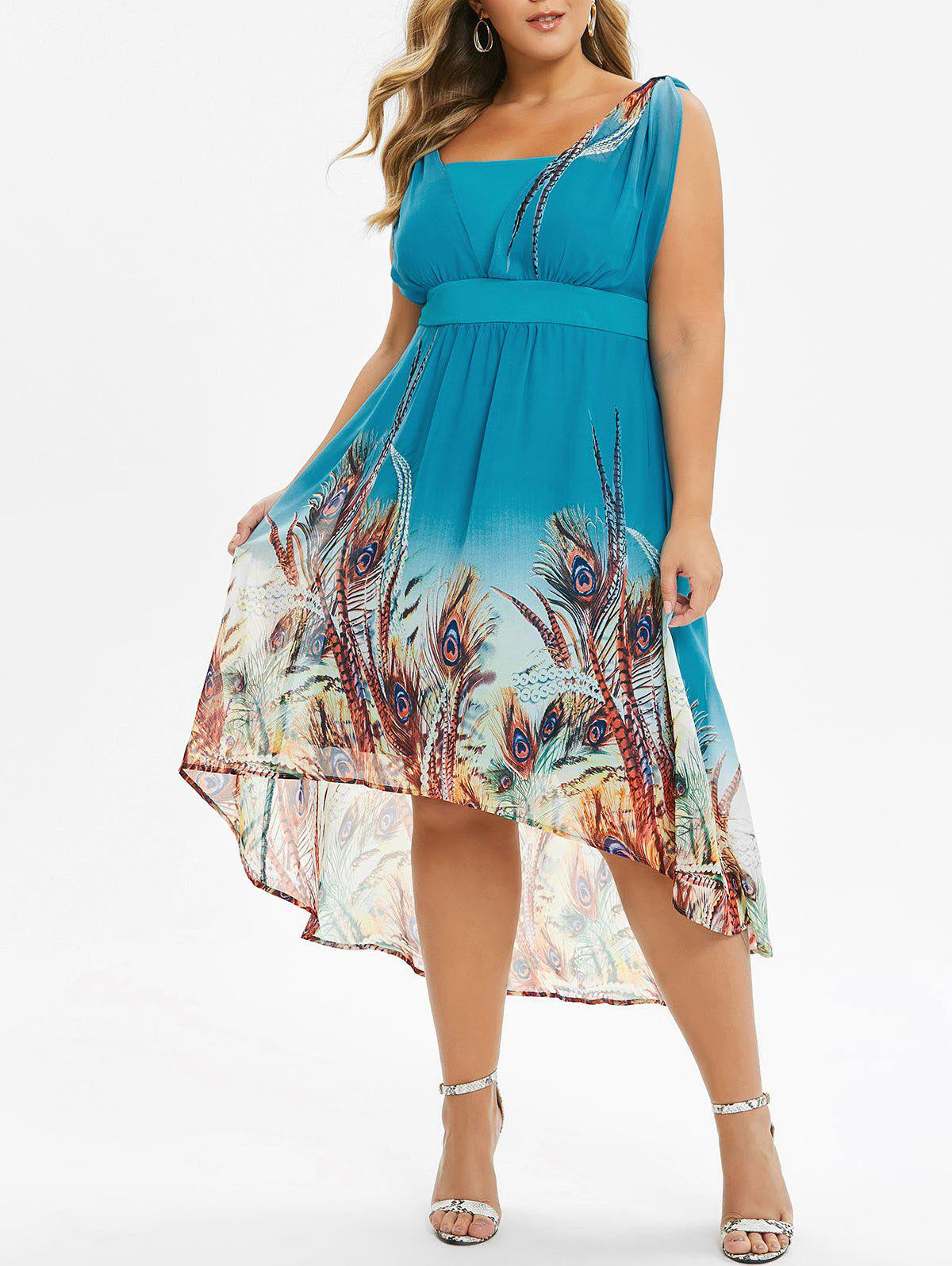 Plus Size High Waist Maxi Printed Dress - MACAW BLUE GREEN L