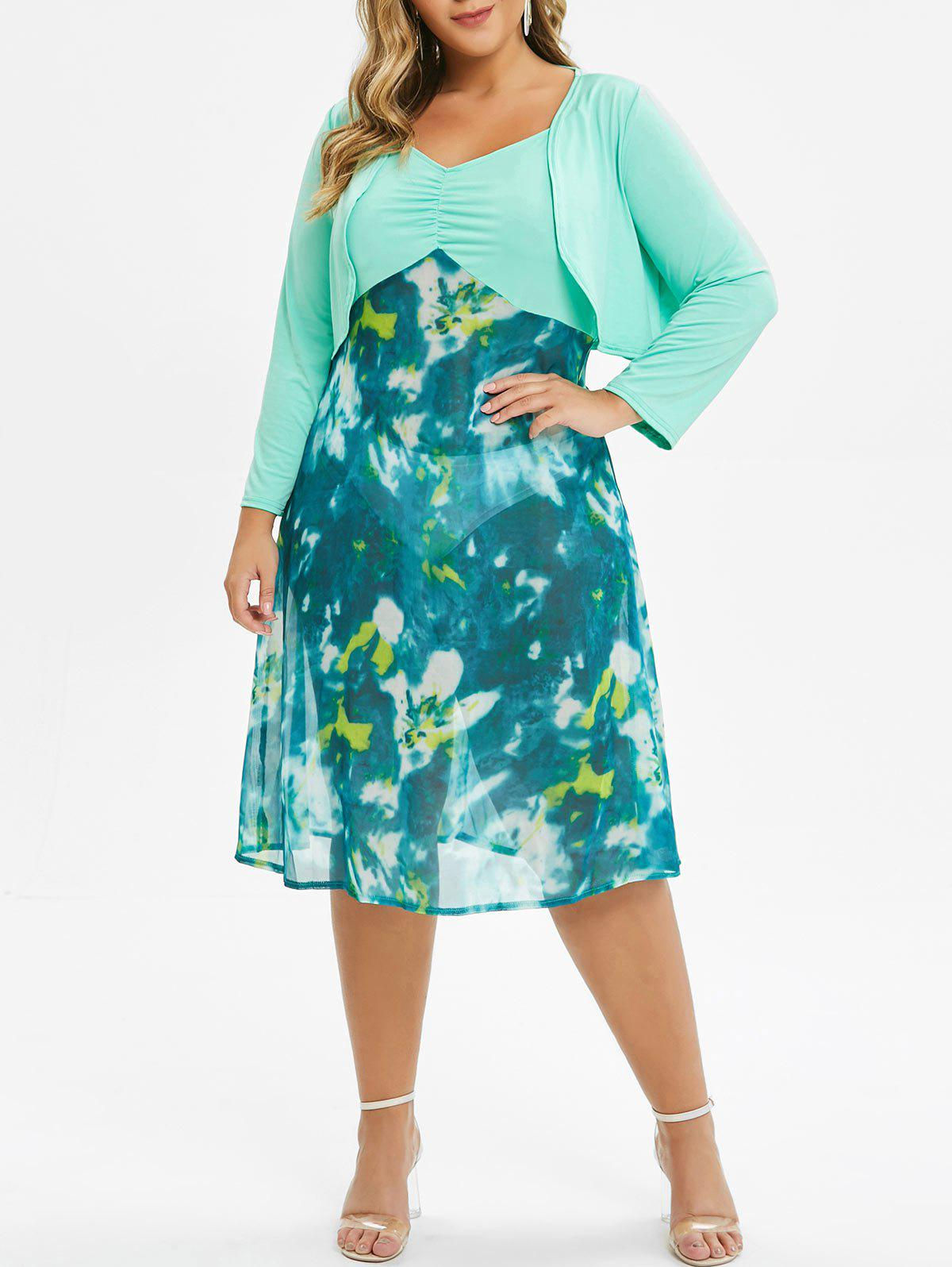 Plus Size Tie Dye Cami Dress With Top - LIGHT AQUAMARINE 1X